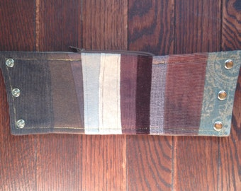 western wrist wallet - charcoal, brown, coffee, tan, neutrals - stripes - XL