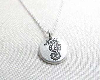 Tiny seahorse necklace, silver seahorse jewelry, beach ocean