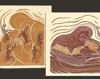 Collector Set 2 Woodcut Prints Original Woodblock Handful Lullaby Mother With Children Earthtones