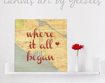 Custom Wedding Gift, Personalized State Map and Heart, Custom Wedding Date and Location, Custom Canvas Art, Florida, Canvas 10X10