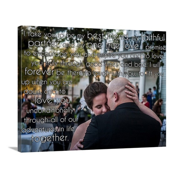Personalized Canvas Photo Print Words Behind Couple Text Photograph Vows and First Dance