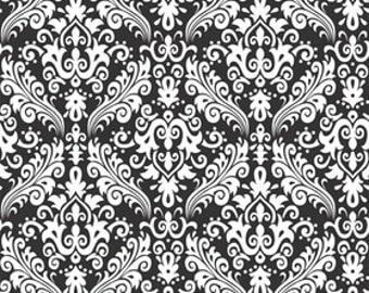 RBD, Medium Damask White on Black (C830 110)