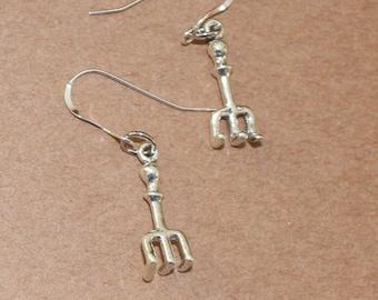 Earrings - Sterling Silver 3D HAND RAKE-- Garden