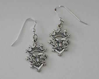 Sterling Silver Celtic CROWN & THISTLE Earrings -