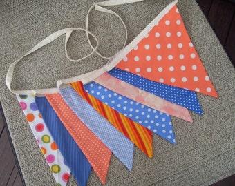 Ready to ship blue, orange gray fabric flag banner teacher classroom nursery party outdoor bunting  polka dot
