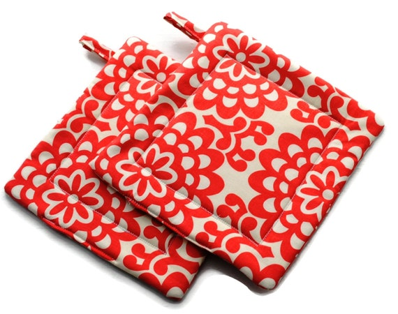 Handmade Quilted Pot Holders Amy Butler Set of 2 Coral Red