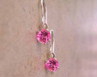 5mm Lab Pink Sapphire, Sterling Silver Dangle Earrings, Cavalier Creations