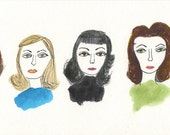 Different Dorothys.   Original watercolor and ink painting by Vivienne Strauss.