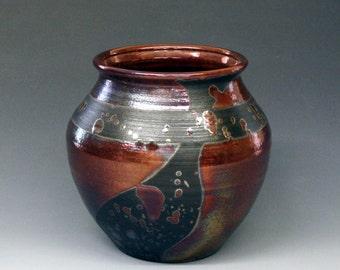 Raku Pot, raku pottery in Copper and Black
