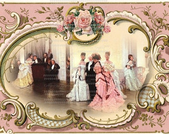 Large digital download  The VICTORIAN BALL pink roses Buy 3 Get one Free ECS SVFteam rdtt