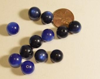 VINTAGE variegated blue ceramic beads *DESTASH*