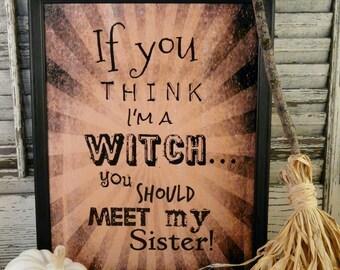 Halloween Witch Sister sign digital pdf -  beige stripes black uprint words vintage style paper old