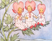 ida bohatta illustration mini gift card vintage bleeding hearts RARE flower children pink spring blossoms suitable for framing