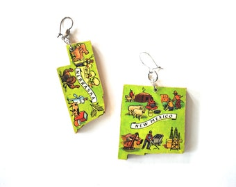 earrings usa states nebraska new mexico puzzle piece earring pair dangling asymmetrical upcycled recycled repurposed vintage OOAK