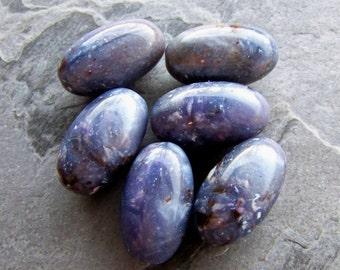 Vintage Beads-Vintage Purple Marble Granite Pearl Italian Oval Lucite Beads-6