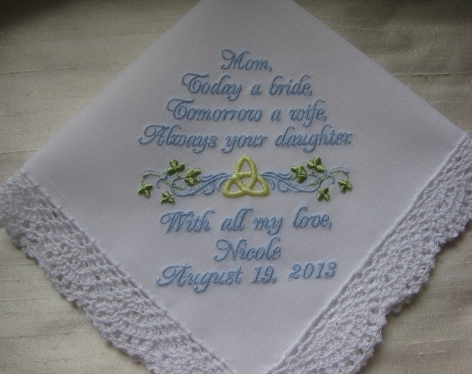 Celtic Knot Mother of the Bride Custom Personalized Wedding Handkerchief