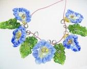 Handmade Glass Lampwork Drop Flower Bead Set 5 Blue Flowers 4 Leaves
