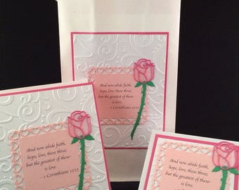 Hot Pink, Light Pink and White Rose Matching Gift Bag, Card and Box Set with Scripture