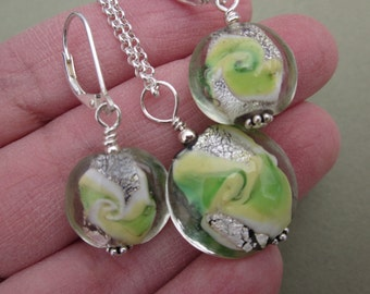 lime green and silver art glass necklace and earrings set