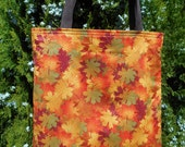 Fall Leaves Sparkle Tote Bag Autumn Leaf Handmade Purse Limited