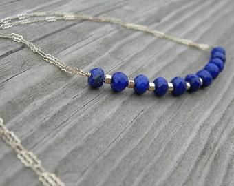 Lapis Lazuli Gold Bar Necklace