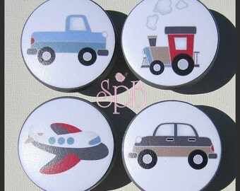 Transportation Knobs • Airplane • Car • Truck • Train • Kids Dresser Knobs • Drawer Pulls • Boys Knobs