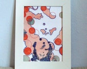 Abstract Figurative Face Circles Orange Blue Green with Block Print 5 x 7 Art Print Mixed Media