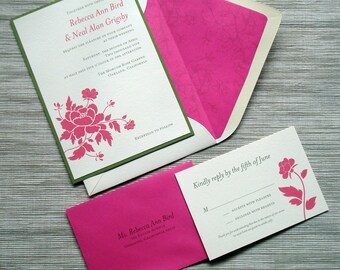 Floral Wedding Invitations with Retro Peonies in Fuchsia Hot Pink Moss Green - DESIGN FEE