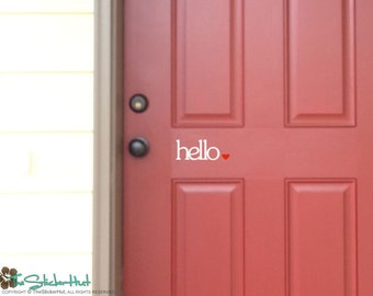 hello colored heart - Home Decor - Front Door Lettering - Wall Graphics - Vinyl Wall Art Graphic Stickers Decals 1695