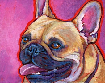 Fawn FRENCH BULLDOG Dog Original Art Painting on 8x8 canvas by Lynn Culp