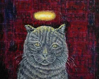 cat art angel halo british lilac impressionism animals artist tile coaster gift new