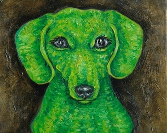 dachshund green art tile coaster gift dog impressionism animals folk artist new