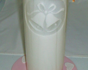Bullfrog Candles with Matching Glass Dish - Wedding Bells Set