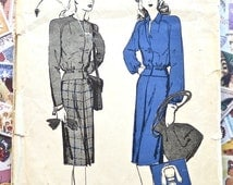 Vintage 1940s Womens Suit Pattern with Bomber Jacket - Butterick 2982