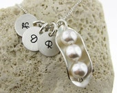 Three Peas in a Pod Necklace with Three Initial Charms - Sterling silver and Swarovski Crystal pearls (NP0012)