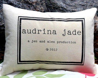 Personalized baby, baby pillow, newborn gift, baby gift idea, name pillow with copyright date, baby girl, baby boy gift, -audrina-