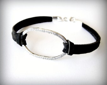 Leather Bracelet Sterling Oval Bracelet Harmony bracelet