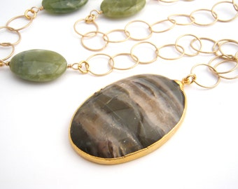 Jade Chain Necklace With Jasper Pendant, Statement Necklace, 14k Gold Filled Chain, Olive Green, Long Necklace, Modern