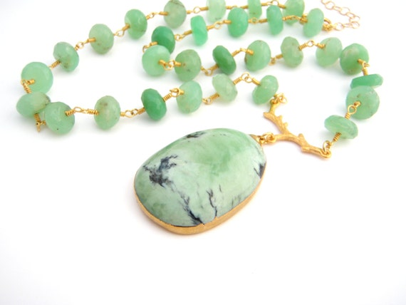 Chrysoprase Pendant Necklace, Rosary Style, Gold, Mint Green, Black, Statement Necklace, Large Pendant