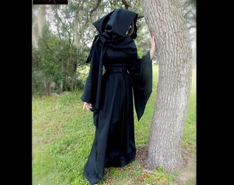 Any color Fantasy Dress Gown Costume with Hooded Scarf Choose Size XS S M L XL 2X 3X - by LoriAnn Costume Designs