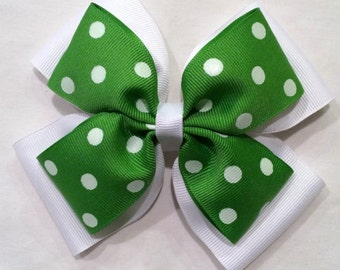 White and Green Bow