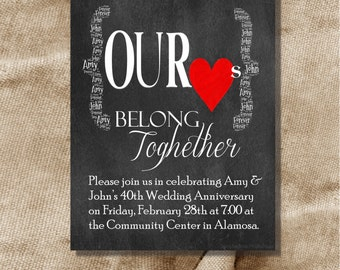 Printable 50th Wedding Anniversary Party Invitation Chalkboard Our Hearts Belong Together Digital File Only