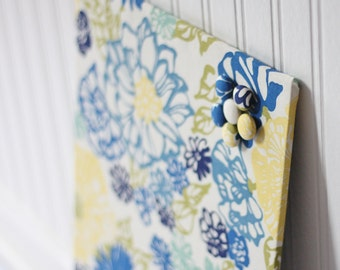 Wall Mount Magnet Board 12inx18in No Frame - Blue and Yellow Floral Fabric