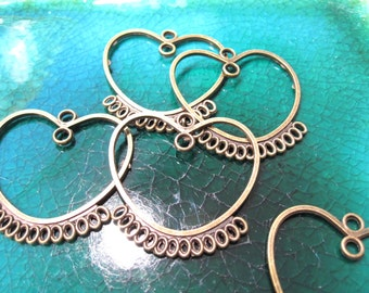 50% Off 6 Antique Brass Heart components, focal drops, select a size and C 0067