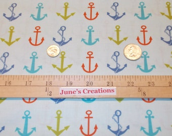 half Yd Moda Fabric Bartholo-meow's Reef Anchors Multi Color Blue Coral All Over Anchor 100% Cotton Quilting Sewing Girl Boy Gifts Crafts