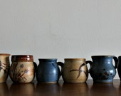 Collection of 6 Vintage Pottery Coffee Mugs in Earth Tones