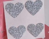 Silbernes Herz Glitzer Aufkleber Umschlag Dichtungen - Luxe dick Glitzer-Karte