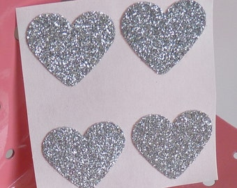 Silver heart glitter sticker envelope seals - luxe thick glitter card