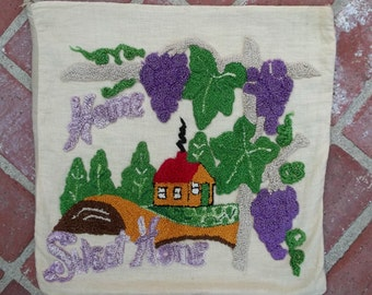 Vintage Soft Linen Pillow Cover Raised Hooked Cottage Home Sweet Home