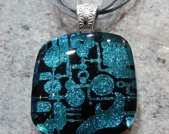 Fused Glass Pendant with Ribbon Necklace: Punked